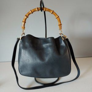 Vintage Leather Bag With Bamboo Handle